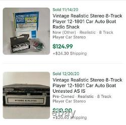 Vintage Realistic Stereo 8-Track Player 12-1801 Car Auto Boat Radio Shack WithBox